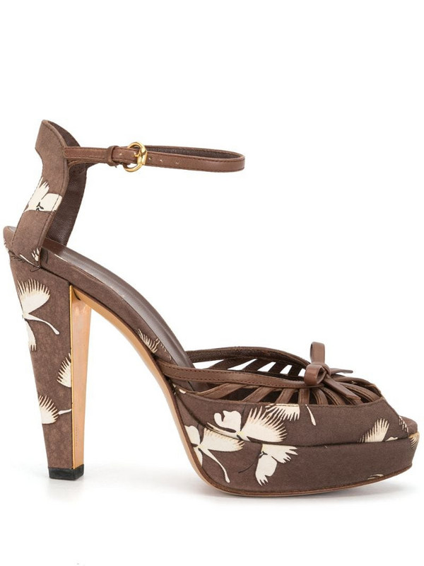 Gucci Pre-Owned floral print platform sandals in brown