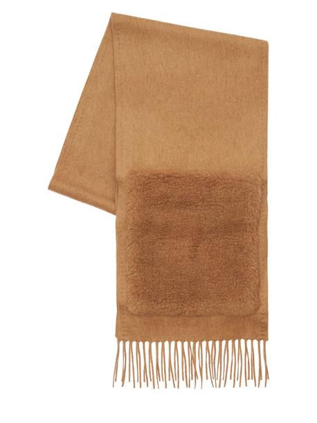 MAX MARA Wktedd1 Camel Scarf W/ Faux Fur Pockets