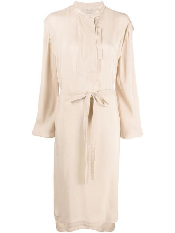 Maison Flaneur long-sleeved tie waist dress in neutrals