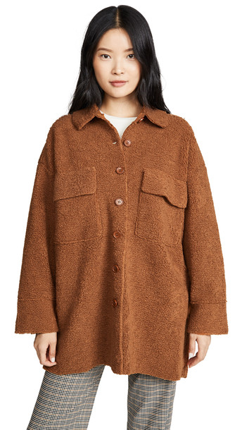 Moon River Midi Button Front Jacket in brown