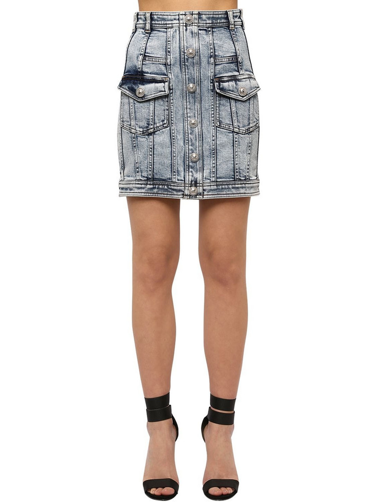 BALMAIN Washed Cotton Blend Denim Mini Skirt in blue