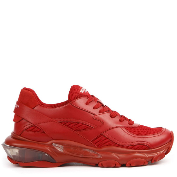 Valentino Garavani Red Leather And Mesh Bounce Sneakers