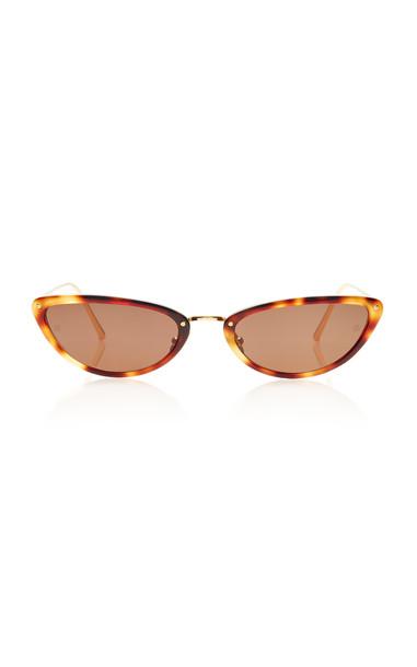 Linda Farrow Acetate and Titanium Cat-Eye Sunglasses in brown