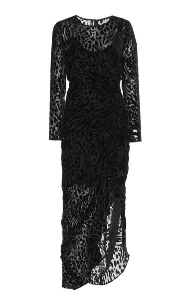 Veronica Beard Lala Velvet-Trim Midi Dress in black