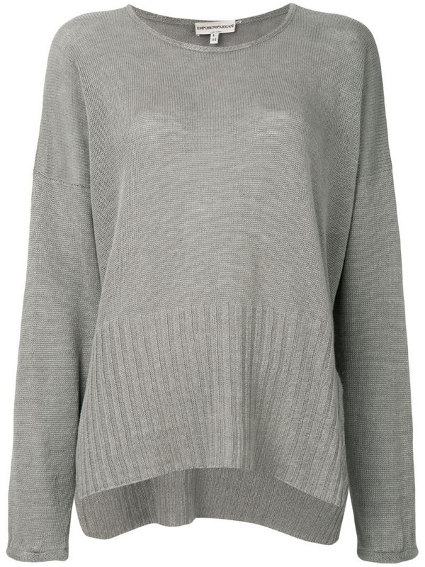 Giorgio Armani Pre-Owned loose fit slit jumper in grey