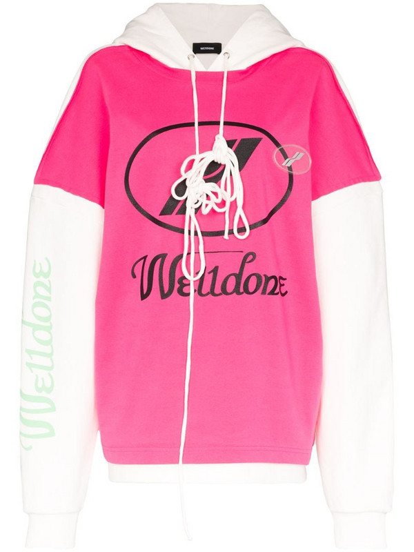 We11done Remake oversized logo hoodie in pink