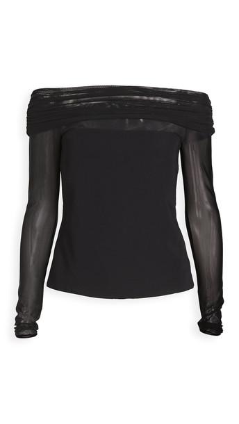 Cushnie Off Shoulder Cropped Top in black