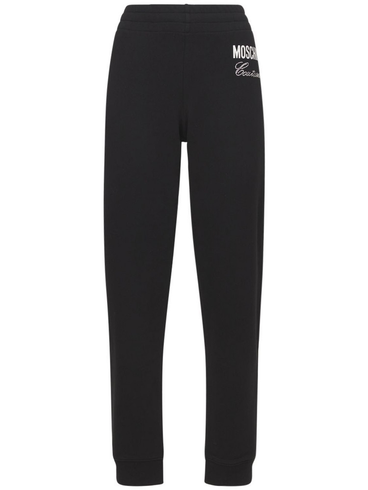 MOSCHINO Embellished Cotton Jersey Track Pants in black / silver