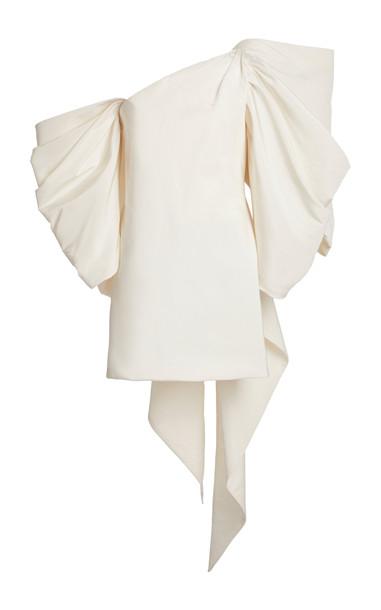 Carolina Herrera Bow-Embellished Silk Mini Dress in white
