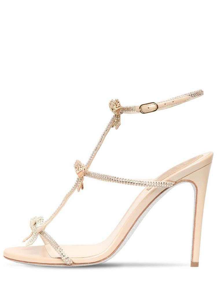 RENÉ CAOVILLA 105mm Embellished Satin Sandals in gold / beige