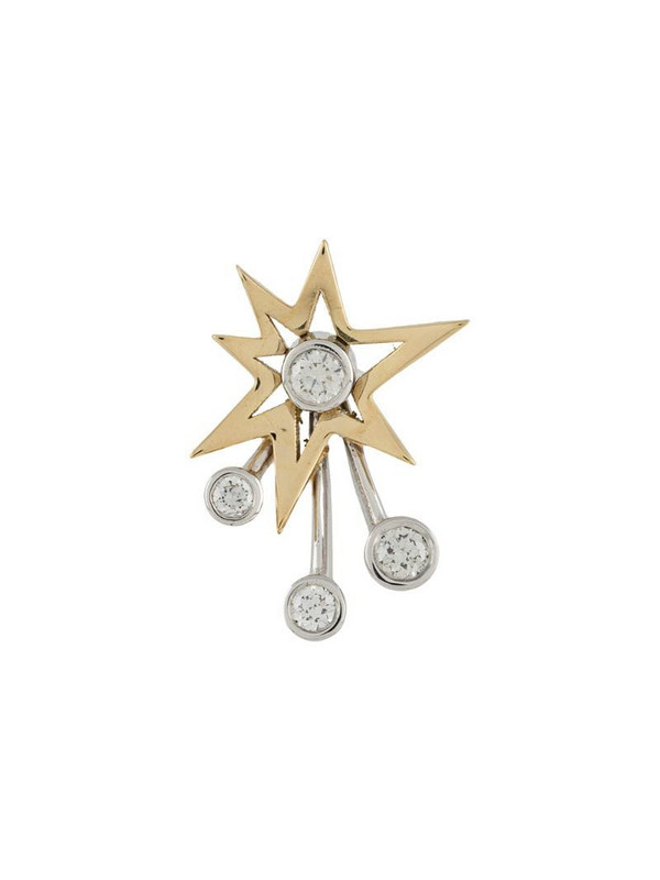 LE STER 18kt yellow gold and white diamond Rocket single earring
