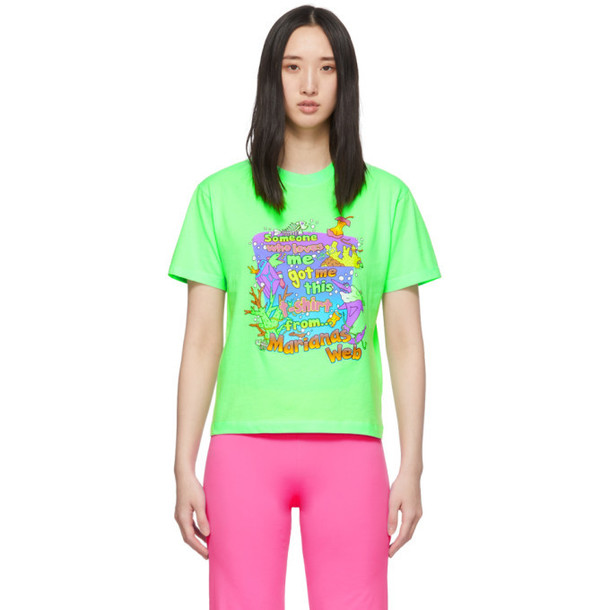 VETEMENTS Green Vacation Cropped T-Shirt