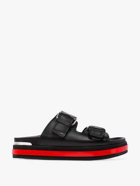Alexander McQueen black and red flatform leather sandals