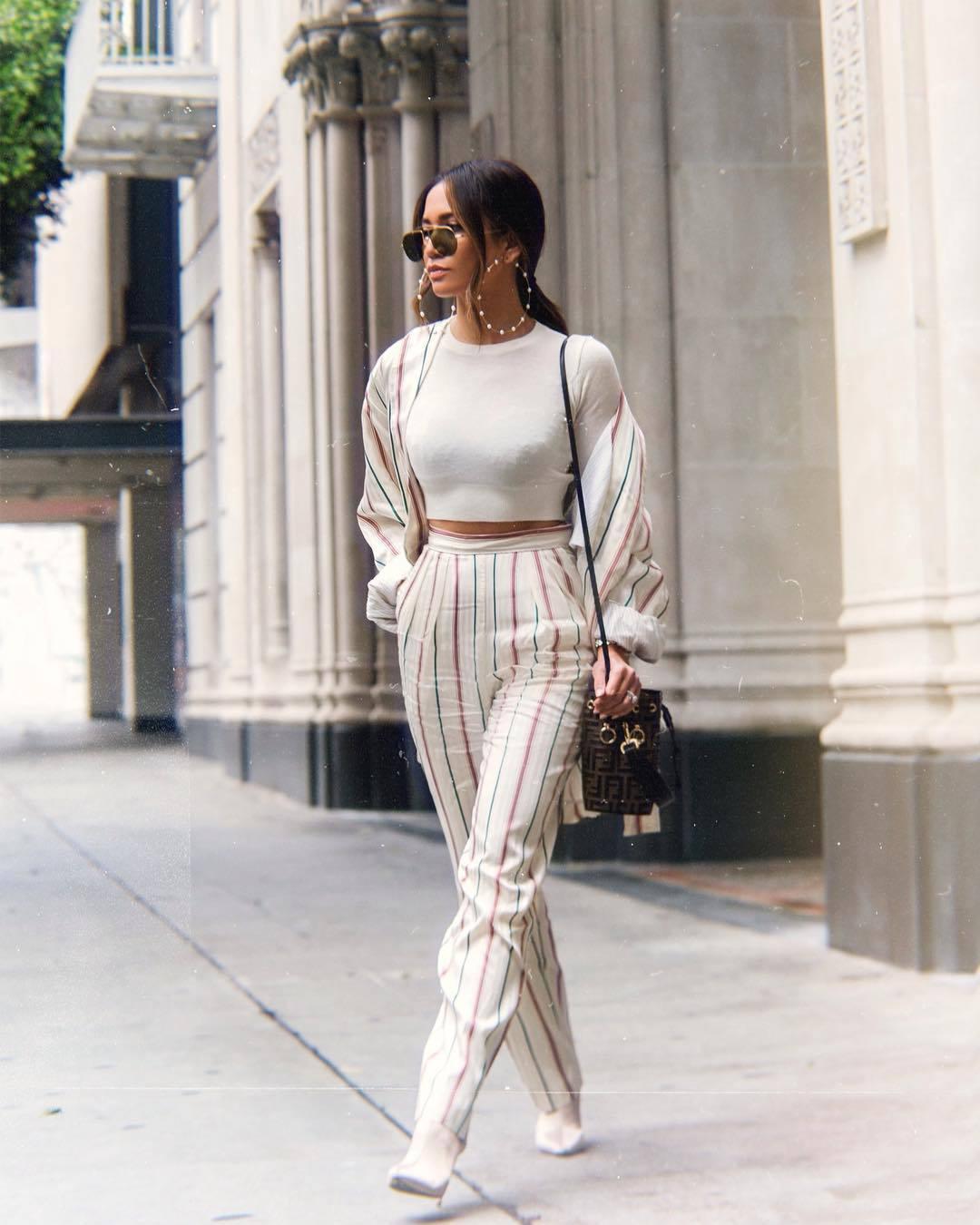 pants striped pants high waisted pants h&m stripes blazer white top cropped fendi brown bag white boots