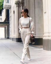 pants,striped pants,high waisted pants,h&m,stripes,blazer,white top,cropped,fendi,brown bag,white boots