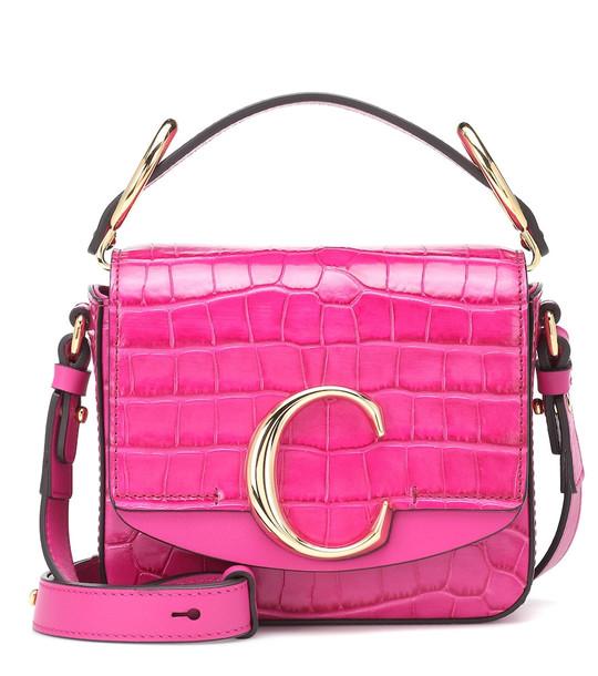 Chloé Chloé C Mini leather shoulder bag in pink