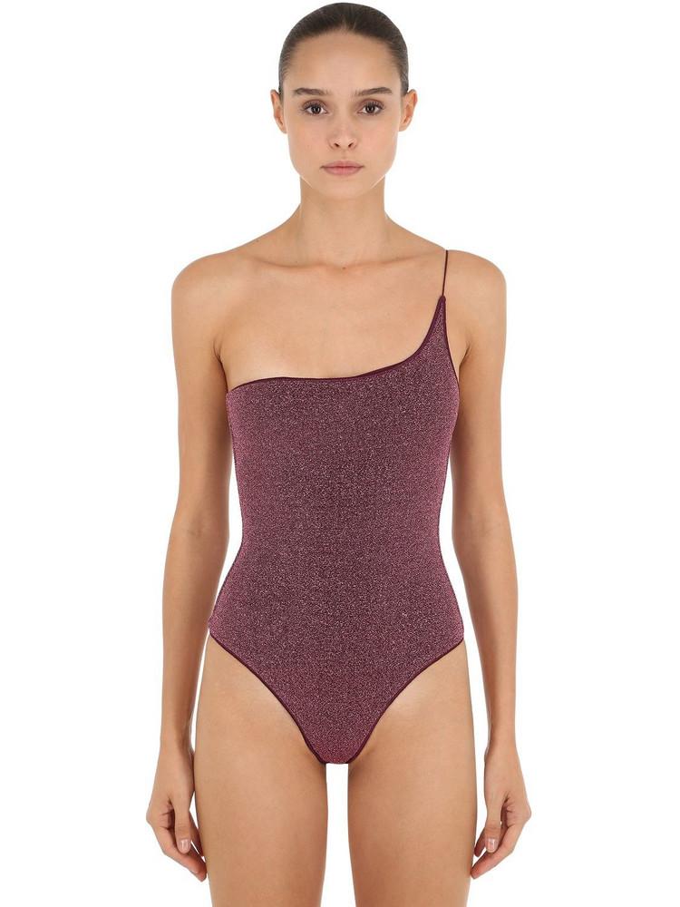 OSÉREE SWIMWEAR One Shoulder Lurex & Lycra Swimsuit in purple