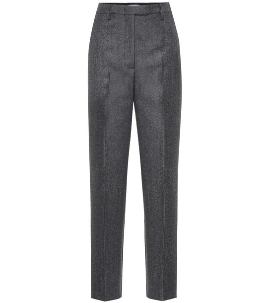 Prada High-rise wool-blend straight pants in grey