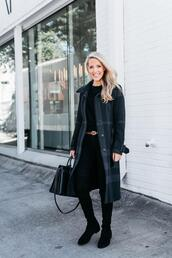 krystal schlegel,blogger,shoes,jeans,bag,sweater,coat,belt,handbag,suede boots