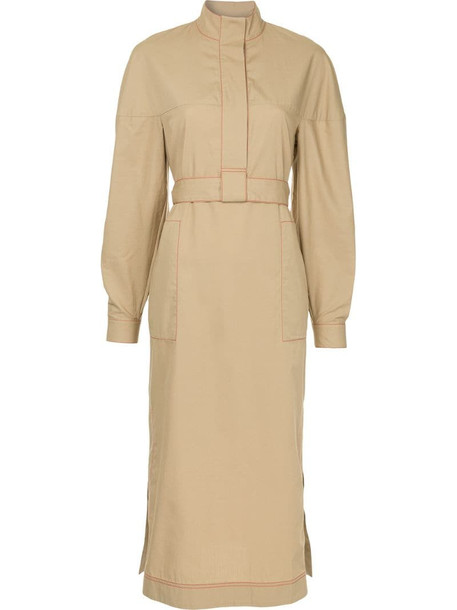 Rosetta Getty concealed front dress in brown