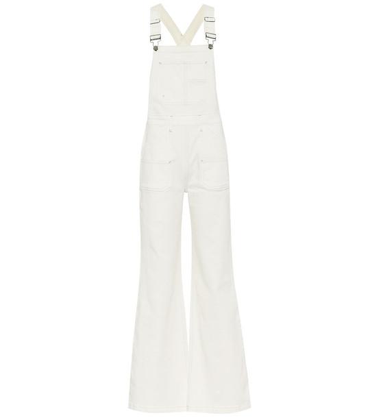 Frame Carpenter Color denim overalls in white