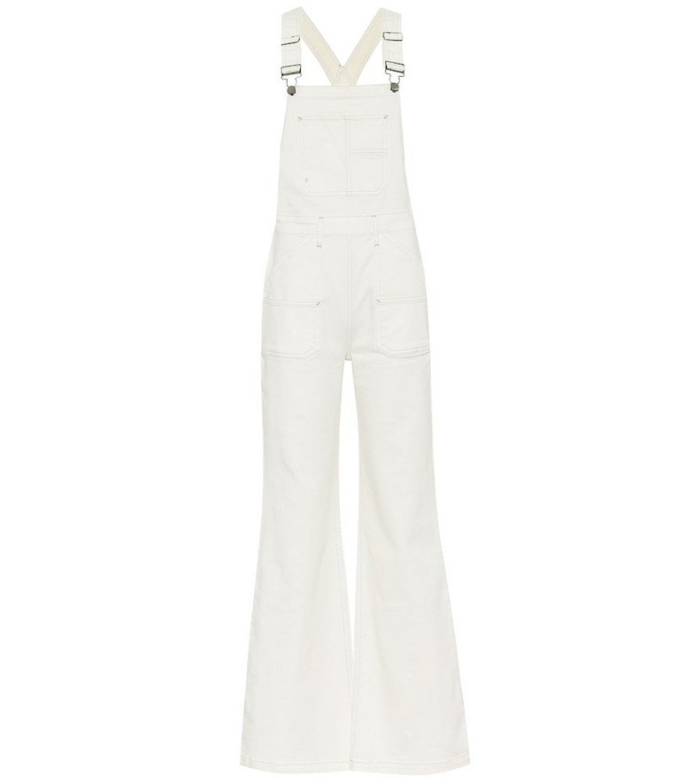 Frame Carpenter Color denim overalls in white