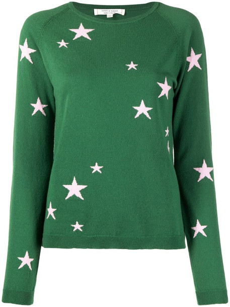 Chinti and Parker star intarsia cashmere jumper in green
