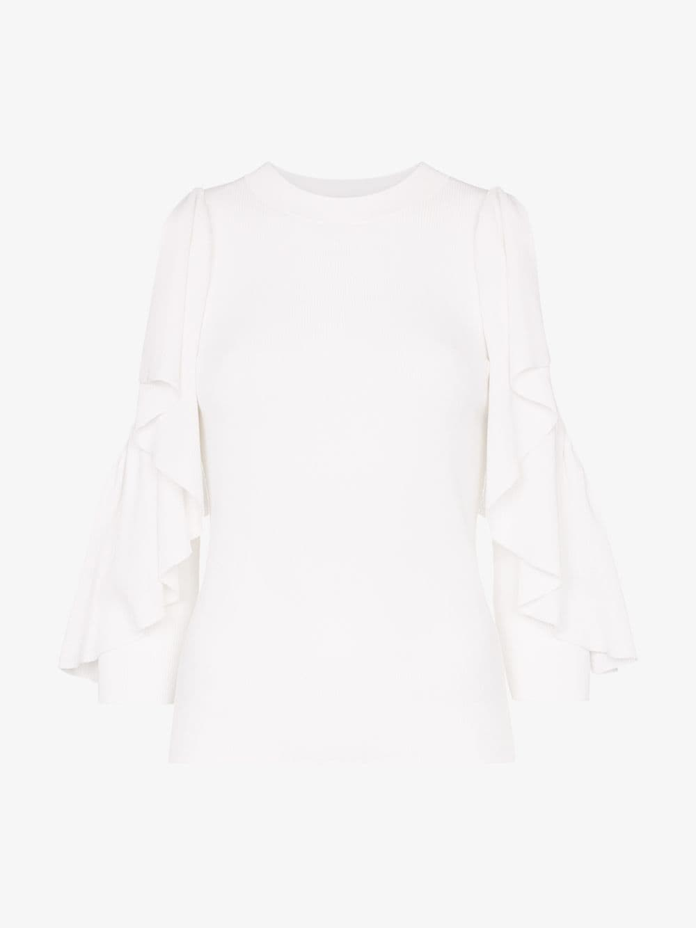 See By Chloé See By Chloé ruffle sleeve rib knit top in white