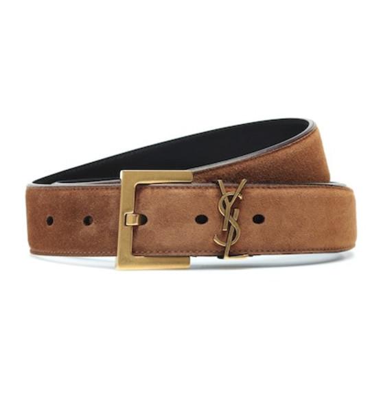 Saint Laurent Monogram suede belt in brown