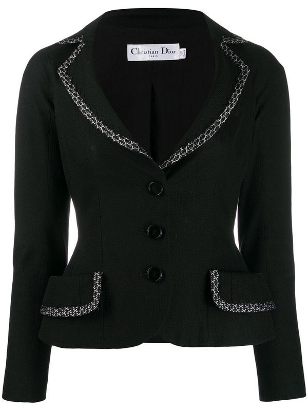 Christian Dior pre-owned bow embroidered trim tailored jacket in black