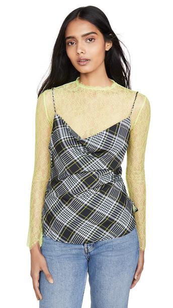 Jonathan Simkhai Plaid Print Long Sleeve Lace Combo Tee