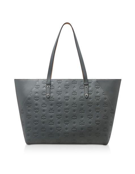Mcm Klara Monogrammed Leather Charm Medium Shopper