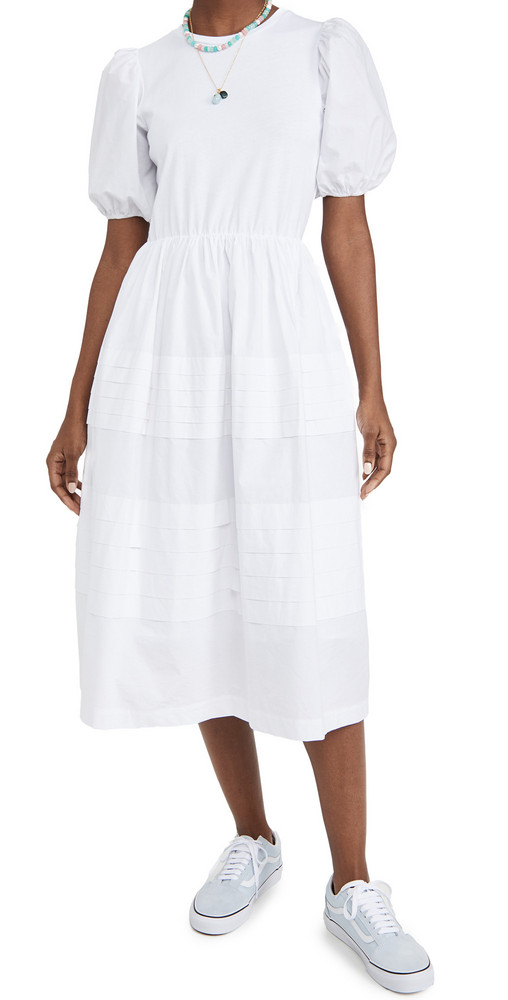 ENGLISH FACTORY Pleated Detail Maxi Dress in white