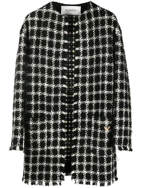 Valentino tweed checkered VGOLD coat in black