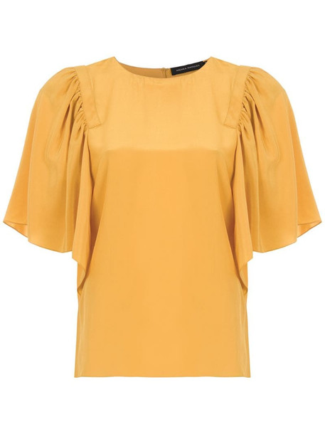 Andrea Marques ruffled silk blouse in yellow