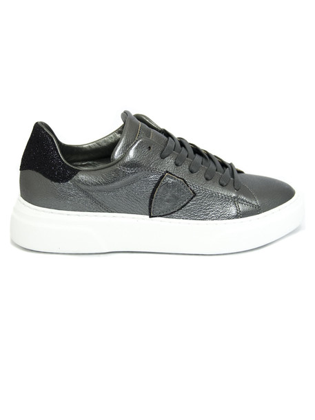 Philippe Model Anthracite Laminated Leather Temple Femme Sneakers