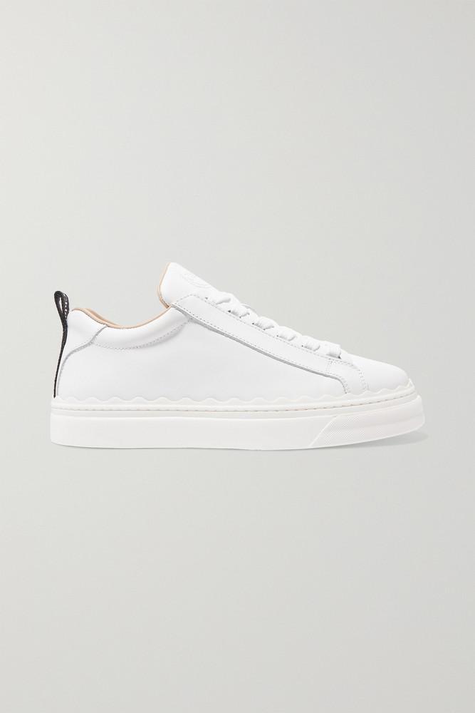 CHLOÉ CHLOÉ - Lauren Scalloped Leather Sneakers - White