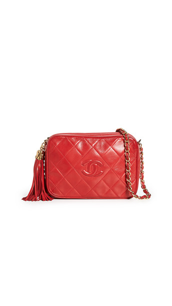 What Goes Around Comes Around Chanel Red Lambskin Camera Bag