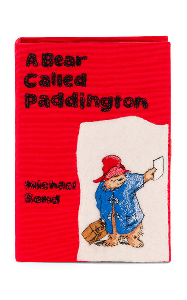Olympia Le-Tan A Bear Called Paddington Embroidered Book Clutch in red