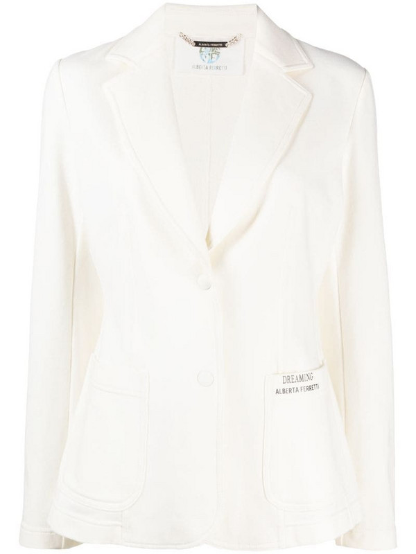 Alberta Ferretti logo print single-breasted blazer in neutrals