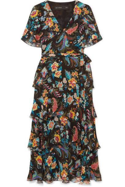 Etro - Ruffled Floral-print Silk-chiffon Wrap-effect Dress - Black