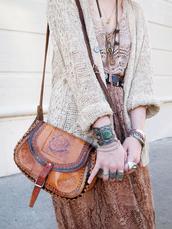 bag,leather,shoulder bag,brown,vintage,gypsy,boho,tumblr,tumblr outfit,cute