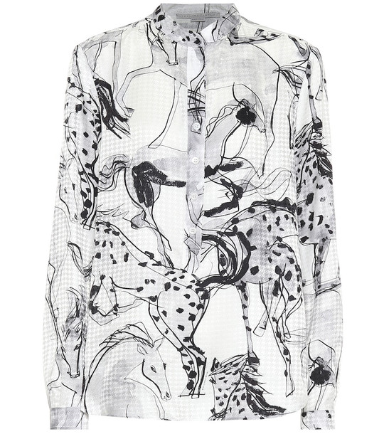 Stella McCartney Printed silk shirt in white