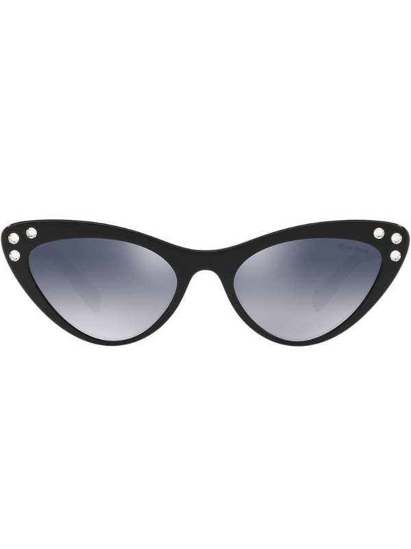 Miu Miu Eyewear crystal embellished cat eye sunglasses in black