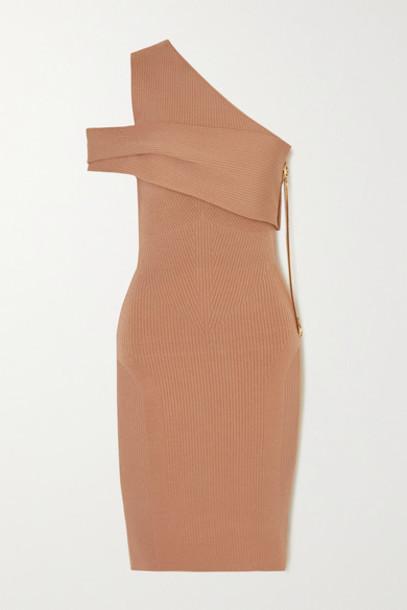 AZ Factory - Mybody One-shoulder Ribbed Stretch-knit Midi Dress - Beige