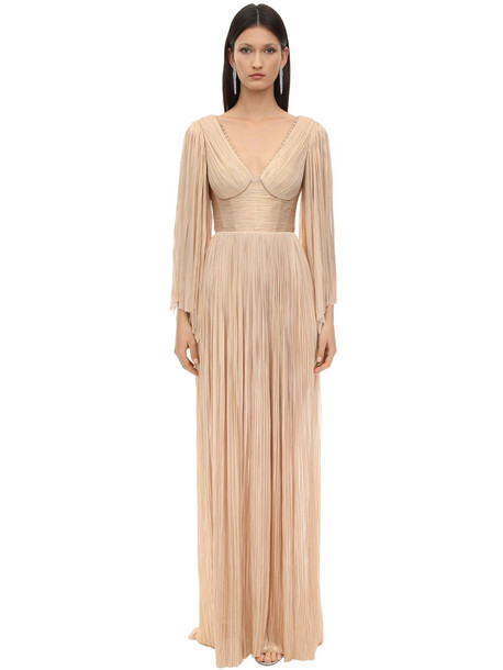 MARIA LUCIA HOHAN Catalina Long Embellish Silk Tulle Dress in gold / rose