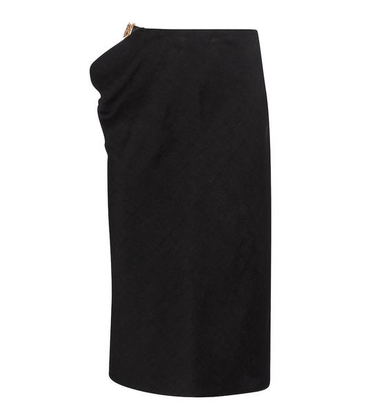 Versace Cutout linen-blend midi skirt in black