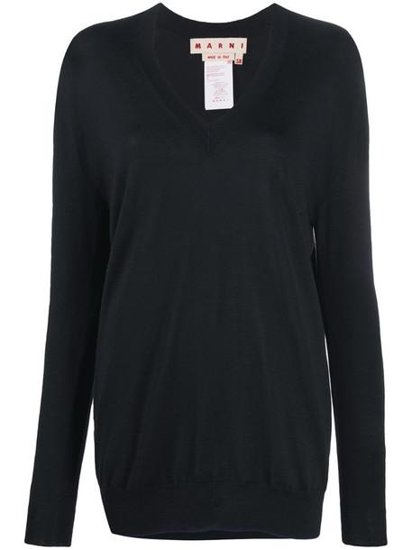 Marni V-neck fine-knit jumper in black