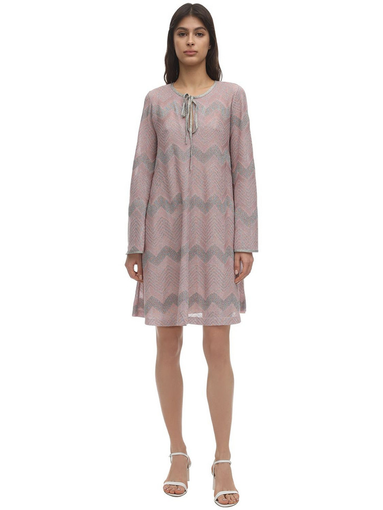 M MISSONI Zig Zag Lurex Knit Mini Dress in pink