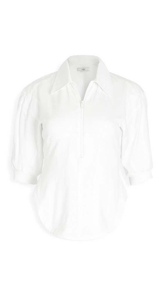 Tibi Corset Polo Zip Up Top in white